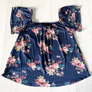 MOA Navy & Floral Off The Shoulder Ruffle Sleeves